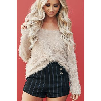 What's All The Fuzz Sweater (Taupe)
