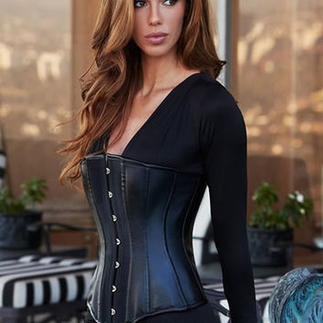 BACI Sexy Leather and satin Steel Boned Underbust Corset