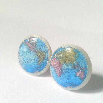 Globe Studs, Earth Map Studs, Planet Stud, Earth Earrings, Planet Earth Earrings, Map Earrings, Blue Disc Studs, Blue Earth Jewelry