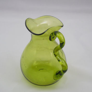 "Green Glass Pitcher 5 1/4"", Vintage Mossy Green Pitcher, Small Green Glass Pitcher with Wavy Handle, Retro Glass for Serving or Vase"