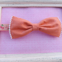 Peach and pearls fabric bow headbands for babies, toddlers, teens, and adults.          ~FABRIC BOW DEPOT~