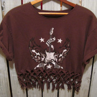 Vintage USA Rock and Roll T-Shirt, Reconstructed, Size Medium, Crop Top with Weaving