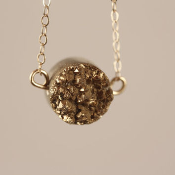 Small Drusy Agate Gold Nugget Necklace on 14kt GF Chain, Metallic Druzy Pendant, Miniature Round Stone, Bling, Sparkly, Matching Earring Set