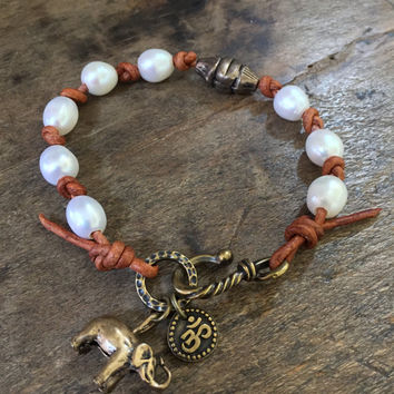Boho Elephant and Pearl Leather Knotted Wrap Bracelet, Rustic Bronze Beaded Jewelry by Two Silver Sisters twosilversisters