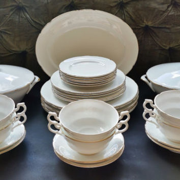 Vintage Royal Standard Fine bone china complete Dinner Service. 33 pieces, dinner for 6. Pattern no 722H pure white with gold edging.