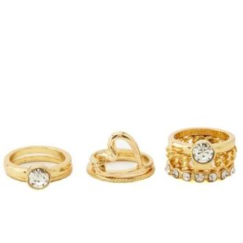 Knotted Heart & Rhinestone Rings - 3 Pack by Charlotte Russe - Gold