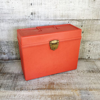Industrial Box Porta File Plastic Box Orange File Cabinet Portable File Cabinet Utility Box Industrial Storage Mid Century Decor