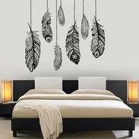 Wall Vinyl Decal Feather Romantic Bedroom Dreamcatcher Decor Unique Gift (z3684)