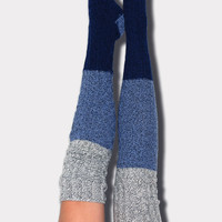 Blue Color Block Marled Cable Knit Thigh High Socks