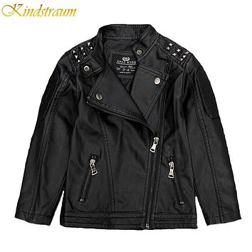 New Kids Faux Leather Jackets For Boys & Girls Children Fashion Coats Outerwear Spring & Autumn