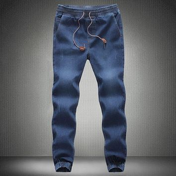 Men jeans Cotton Drawstring jogger pants Men Blue Cargo pants Casual denim Harem Sweatpants Hip Hop Dance Pantalone pants 100406
