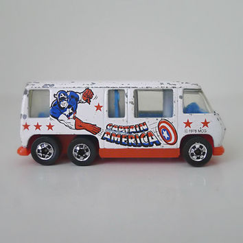 Vintage Hot Wheels Captain America GMC Motor Home, 1970s Toy Car / Van - Marvel, for him, diecast, kids toy, superhero, comic hero