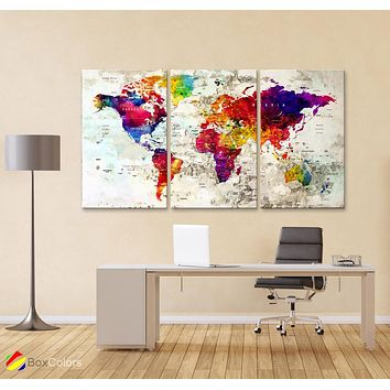 "LARGE 30""x 60"" 3 panels 30x20 Ea Art Canvas Print Watercolor  Map World Push Pin M1830"