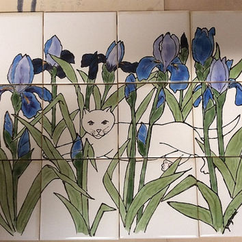 Kitty Cat and Blue Iris Ceramic Tile Mural by Jaymi