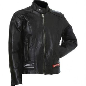 Diamond Plate Rock Design Genuine Buffalo Leather Motorcycle Jacket- Xl