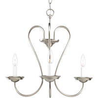 Progress Lighting P4665--09 Heart Brushed Nickel Three-Light 20-Inch Chandelier with White Candle Sleeves