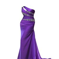 Zyjdress Vintage One Shoulder Long Chiffon Beaded Prom Dresses for Formal Wear Fitted