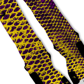 Purple Kobe Lakers Snake Skin Custom Nike Elite Socks