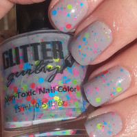 Cloudy With a Chance of Neon. Full Size Indie Gray and Neon Glitter Non Toxic nail polish by Glitter Guilty