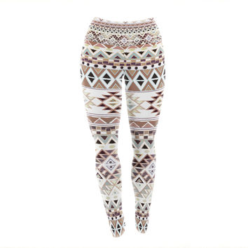 "Nika Martinez ""Tribal Native in Pastel Brown"" Brown Yoga Leggings"