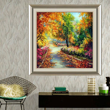 DIY 5D Diamond Painting Autumn Garden Forest Embroidery Cross Crafts Stitch