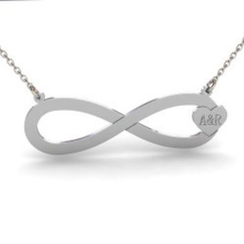 Sterling Silver Initials Infinity Heart Necklace