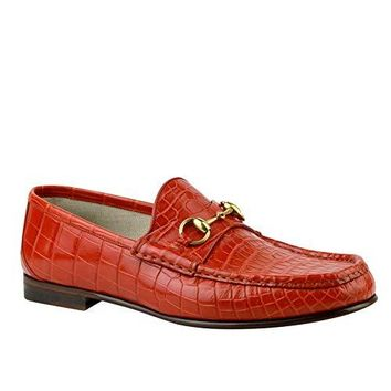 Gucci Gold Horsebit Red Orange Crocodile Leather Loafer Shoes 307929 6432 (10 G / 10.5 US)