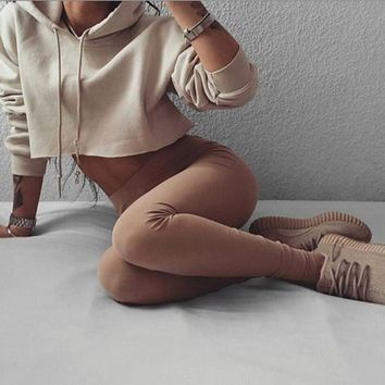 Autumn short paragraph lo shi khaki thin section hooded sweater
