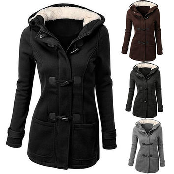 Women's Winter Classic Style Flocked Hooded Toggle Duffle Coat Jacket Outerwear