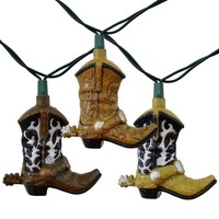 Western Cowboy Boots Party String Lights, 10 FT