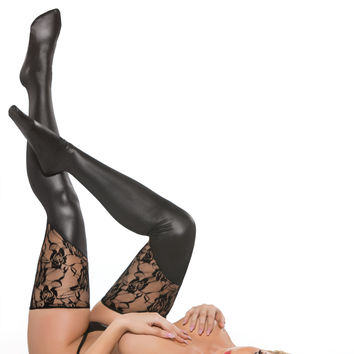 Kitten Lace & Wet Look Tights