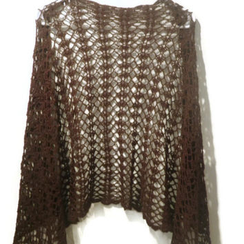 lacey brown crochet wrap in  a bamboo linen yarn (one of a kind)