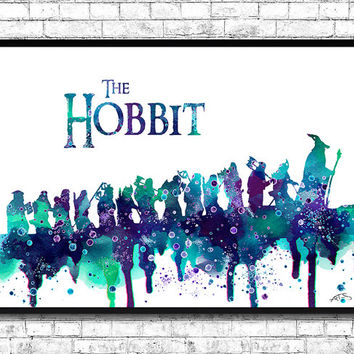 The Hobbit Watercolor Print, Lord of the Rings Watercolor,Wall Hanging,Giclee wall print,Movie art poster,Watercolor Art,Home Decor,Wall art