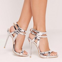 Missguided - Double Ankle Strap Barely There Heeled Sandals Silver