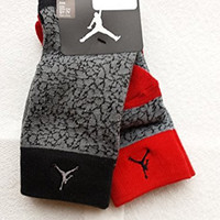 Nike Air Jordan 2 Pairs/Pack Kids Crew Socks, Youth, Grey/Black/Red, 5Y-7Y