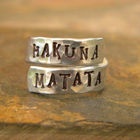 Hakuna Matata hand stamped adjustable ring