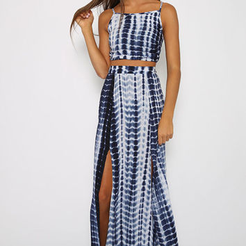 Blue Animal Skin Pattern Cropped Top and Maxi Skirt
