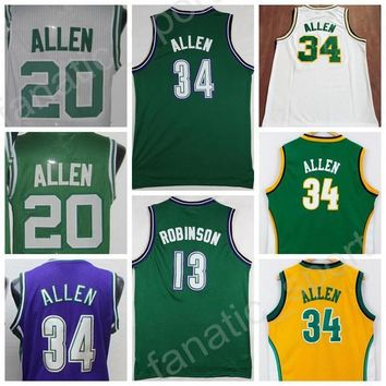 Vintage 34 Ray Allen Jersey 20 Men Throwback Basketball 13 Glenn Robinson Jerseys All Stitched Color Green White Purple Yellow