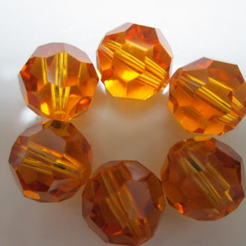 6 topaz swarovski beads 10mm round crystal  beads brown beads 10mm gold bead supplies jewelry making jewelry supplies