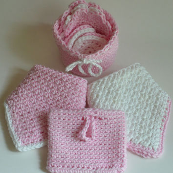 Crochet Basket, Facial Scrubbie, Make-up Remover Pads, and Washcloth Set