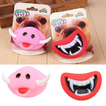 Funny Pet Dog Cat Devil's Red  Lips  Plaything Sound Toys Pet Product
