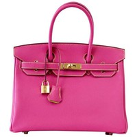 Hermes Birkin 30 Bag Rose Tyrien Chevre Horseshoe Limited Edition Gold Hardware