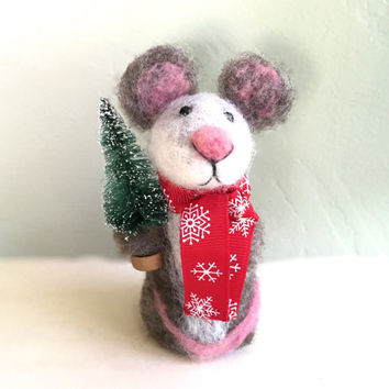 Christmas ornament Mouse with christmas tree Christmas mouse mice scarf needle felted felt wool gift idea felting cute red green grey white