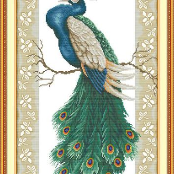 Peacock on the Branch Animal Canvas DMC Cross Stitch Kits Accurate Printed Embroidery DIY Handmade Needle work Wall Home Decor