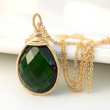 Green Quartz Necklace, Green Necklace, Bezel Set Necklace, Wire Wrapped Necklace