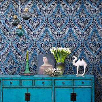 Retro Nostalgic National Wind Non-woven Fabric Damask Wallpaper For Living Room Bedroom Home Decoration Wall Paper Rolls Blue 3D