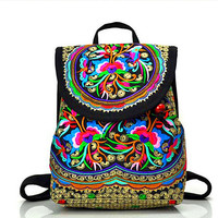 Exotic Nobilty Canvas Backpacks Stereo Hand Embroidery Women Shoulders Bag