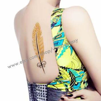 Peacock feathers,Flash gold and silver temporary tattoos,finger wrist arm neck,Waterproof tattoo sticker Necklace women
