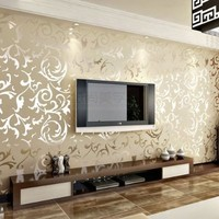 Olivia Embossed Patter Surface Flocking Wallpaper Beige Color Damask Sand Shining Luxury 33 Ft X 1.74 Ft European Style Whitout Glue