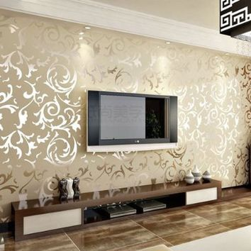 TGSIK Elegant Embossed Pattern Surface Flocking Design Wallpaper Home Decor Beige Color Damask Sand Shining Luxury European Style Whitout Glue
